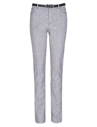 Roma Linen Blend Slim Leg Belted Trousers Clothing