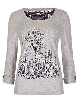 Pure Cotton Forest Print Slub Top Clothing
