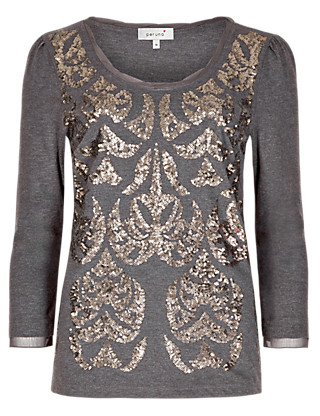 3/4 Sleeve Sequin Embellished Top Clothing