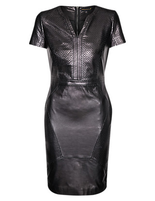 Speziale Petite Leather Perforated Panelled Shift Dress Clothing