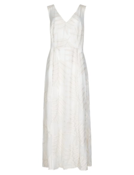 Speziale Pure Silk Fern Embroidered Bodice Maxi Dress