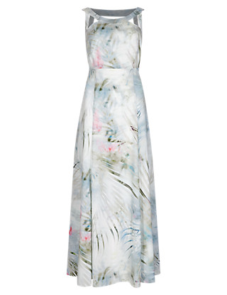 Speziale Abstract Palm Leaf Maxi Dress with Cutabout Detail Straps Clothing