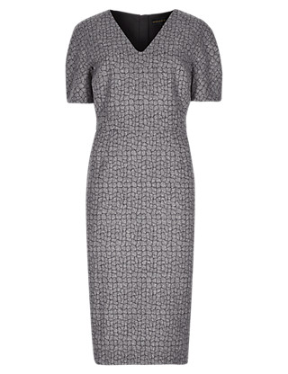 Speziale Jacquard Shift Dress with Wool Clothing