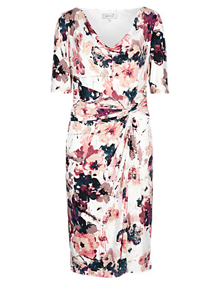 Cowl Neck Floral Dress Clothing