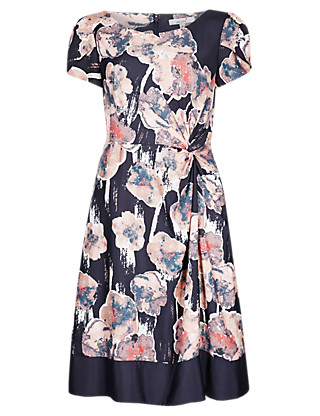 Twisted Knot Floral Shift Dress Clothing