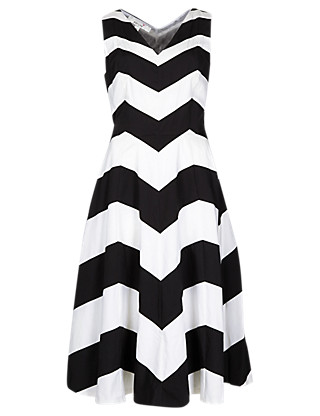 Pure Cotton Chevron Prom Dress with Belt Clothing