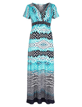 Faux Snakeskin Print Maxi Dress Clothing