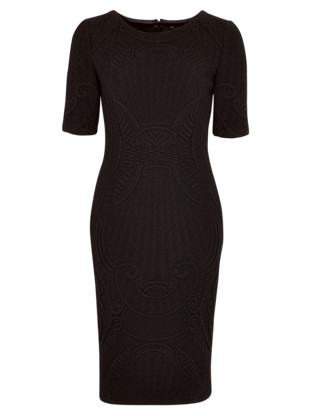 Textured Sculpt Dress with Wool Clothing