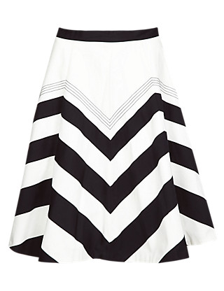Pure Cotton Chevron Skirt Clothing