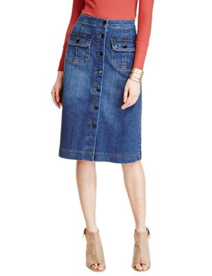 Button Front Denim A-Line Skirt | M&S