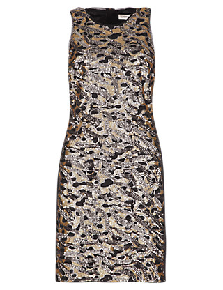 Sequin Embellished Sleeveless Bodycon Dress Clothing
