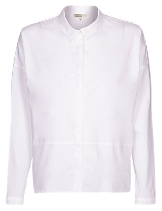 Collared Neck Boxy Shirt Clothing