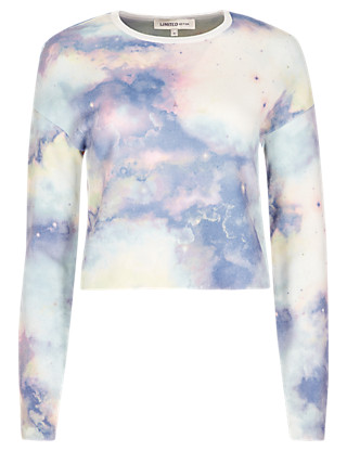 Space Print Cropped Jumper Clothing