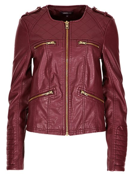 Faux Leather 4 Pockets Bomber Jacket