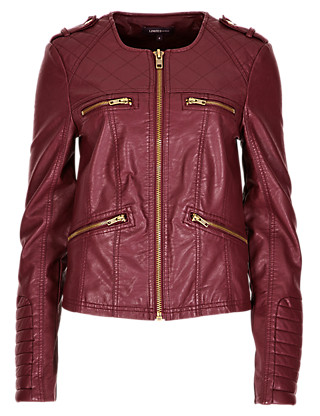 Faux Leather 4 Pockets Bomber Jacket Clothing