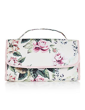 Classic Floral Hanging Cosmetic Bag