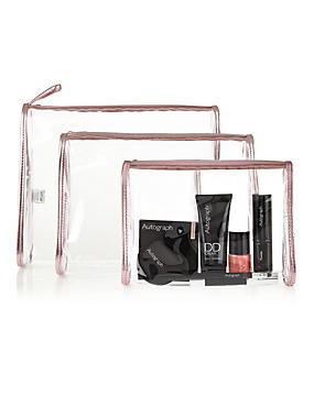 3 Piece Clear Cosmetic Bag Set, , catlanding