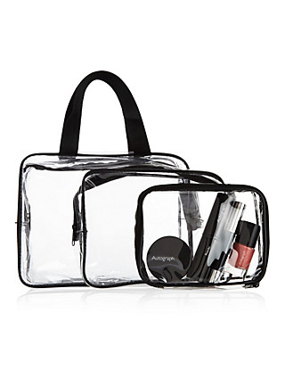 Outstanding Value 3 Piece Clear Cosmetic Bag Set Home