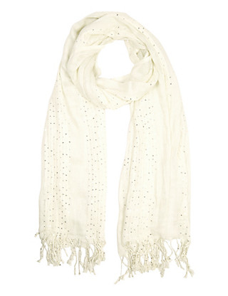 Lightweight Sequin Embellished Striped Scarf Clothing
