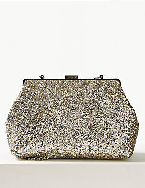 Glitter Frame Clutch Bag , , catlanding