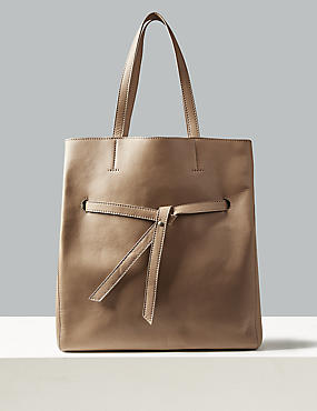 Leather Shopper Bag , TAUPE, catlanding