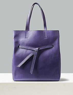 Leather Shopper Bag , ULTRAVIOLET, catlanding