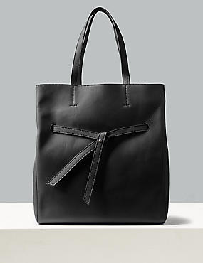 Leather Shopper Bag , BLACK, catlanding