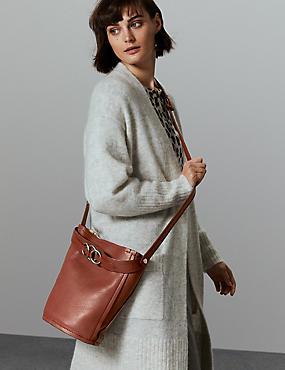 Leather Ring Cross Body Bag, RUST, catlanding