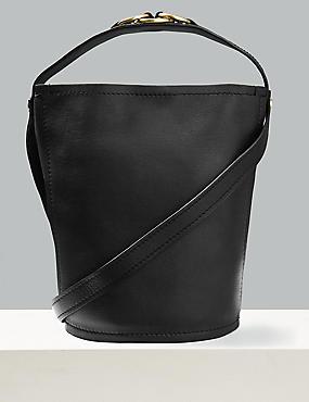 Leather Ring Cross Body Bag, BLACK, catlanding