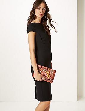 Velvet Embroidered Clutch Bag, BLUSH, catlanding