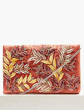 Velvet Embroidered Clutch Bag, BLUSH, catlanding