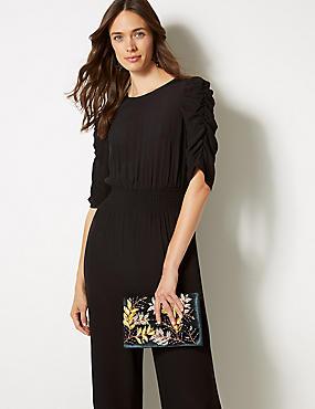 Velvet Embroidered Clutch Bag, TEAL, catlanding