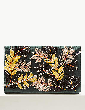 Velvet Embroidered Clutch Bag, TEAL, catlanding