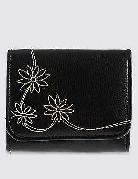 Faux Leather Daisy Medium Purse with Cardsafe™