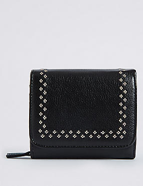 Faux Leather Twin Needle Purse