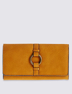 Faux Leather Ring Detailed Purse