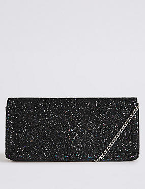 Faux Leather Elongated Clutch Bag