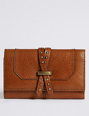 Leather Pin Detailed Purse with Cardsafe™