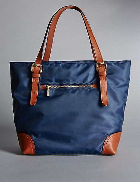 Leather Trim Double Handle Small Tote Bag