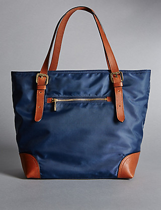 Leather Trim Double Handle Small Tote Bag Clothing