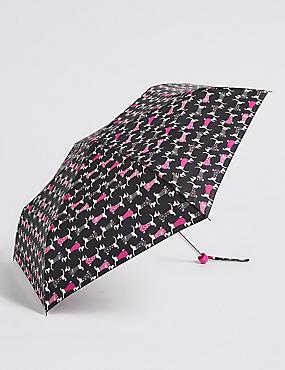 Animal Print Compact Umbrella with Stormwear™, BLACK MIX, catlanding