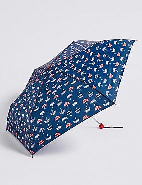 Printed Umbrella with Stormwear™, NAVY MIX, catlanding