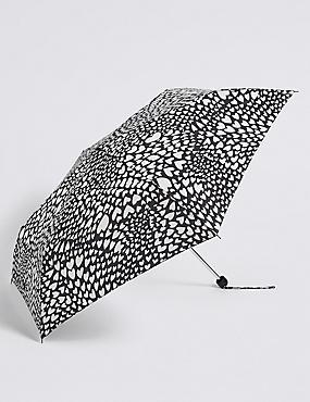 Heart Print Umbrella with Stormwear™ , BLACK MIX, catlanding