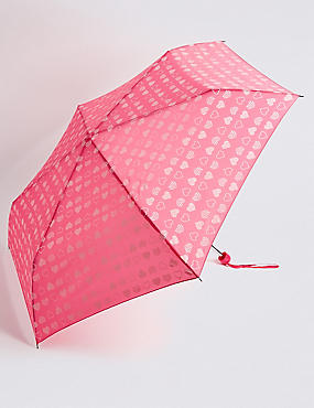 Heart Print Compact Umbrella with Stormwear™, PINK MIX, catlanding