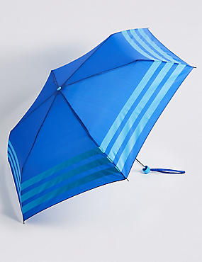 Striped Compact Umbrella with Stormwear™, BLUE MIX, catlanding