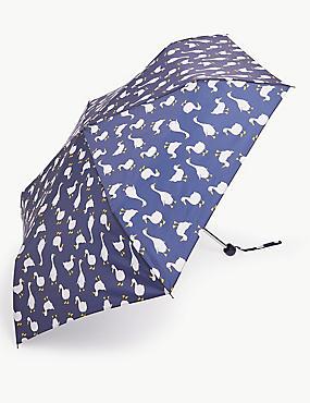 Duck Print Compact Umbrella with Stormwear™, NAVY MIX, catlanding