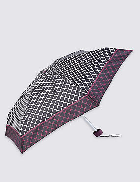 Grid Checked Compact Umbrella with Stormwear™