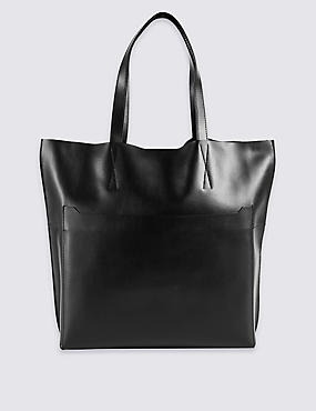 Leather Pocket Shopper Bag