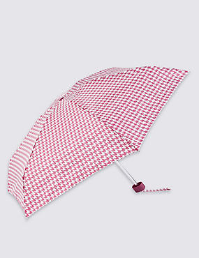 Mini Dogtooth Print Compact Umbrella with Stormwear™