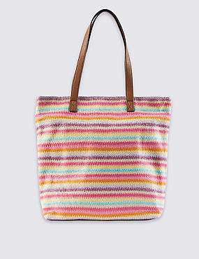 Pure Cotton Knitted Striped Shopper Bag